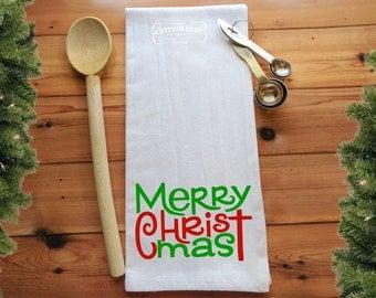 Merry Christmas Flour Sack Towel | Kitchen Towel | Bar Towel | Housewarming Gift