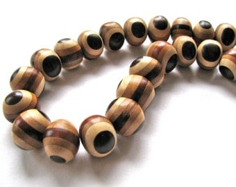 Wood beads, striped wood, shades of brown, 1 bead, 16x20mm - #491