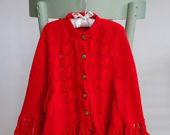 Girl's Vintage Red Knit Cape with Buttons, Perfect for Christmas!