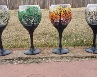 Four seasons trees wine glasses, 4 wine glasses hand painted all four seasons trees wine glass
