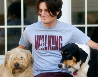 WALKING Hand-Crafted Screen-Printed T-Shirt in Heather Gray & Maroon