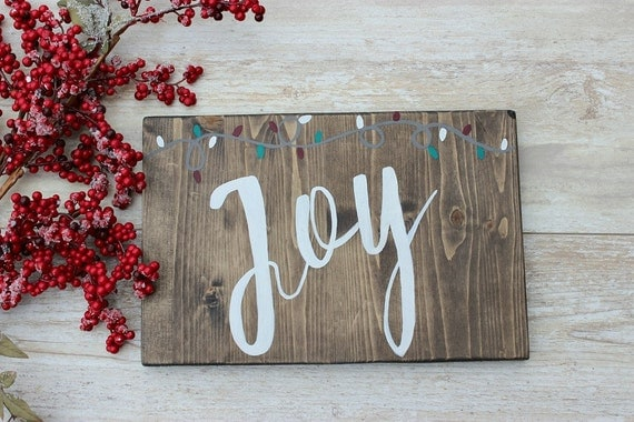 Christmas wood sign joy rustic
