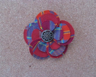 Pitcairn Tartan Fabric Flower Brooch