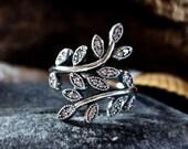 Authentic Pandora Sparkling Leaves Clear CZ Ring S925 ALE, 925 Sterling Silver Pandora Sparkling Leaves Ring, Sparkling Leaves Pandora Ring