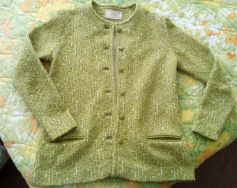 Catalina Vintage Jaquared Green Light Weight Jacket  FREE SHIPPING
