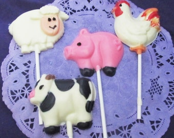 12 Farm animal assorted chocolates lollipops