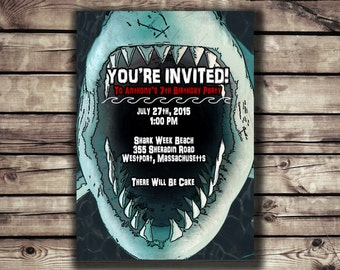 Shark Party invitation // Shark Mouth// Digital File