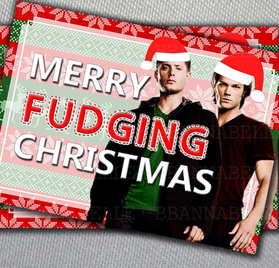 Supernatural Christmas Card //Merry Fudging Christmas//Digital