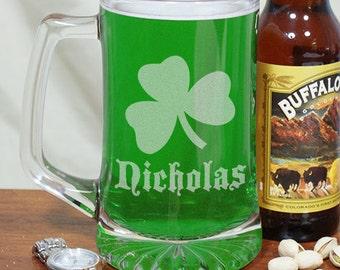 Shamrock Personalized Beer Mug, Engraved Irish Beer Mug, Irish Mug