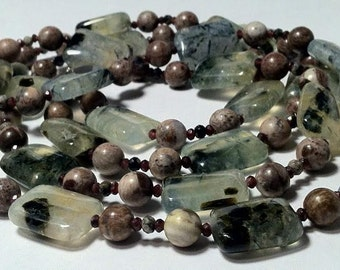Light green and brown long necklace