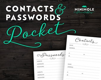 Pocket Printable Planner Contacts List Planner Contacts Planner Address Planner Passwords Filofax Pocket Planner Inserts Planner Refill Page