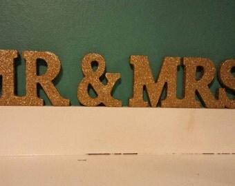 Mr & Mrs glittered sign