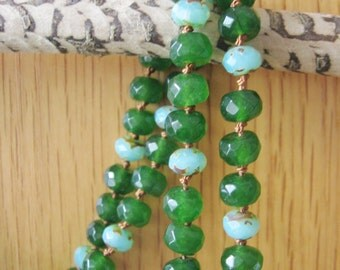 Chrysoprase necklace, silk knotted, green chrysoprase & green glass beads, silk hand knotted, goldtone lobster clasp, silk cord, gift idea