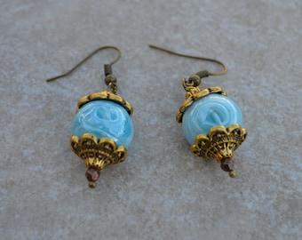 Sky blue and White Swirl bead Earrings
