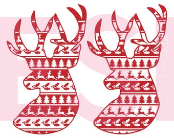 Reindeer, Ugly Sweater svg, cutting file, SVG, DXF, EPS, Christmas svg files, for use with Silhouette Cameo and Cricut Explore. Deer head.