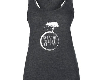 "Supersoft  Triblend Women's Yoga ""Breathe, Believe, Receive"" with Tree Racerback Tank Top Vest."