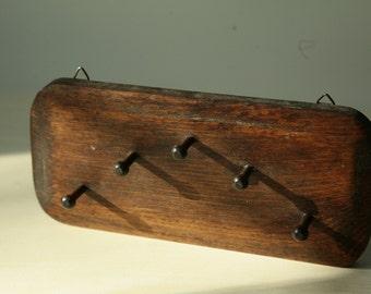 Vintage wood key rack - wall hanging wood key rack - 5 wood pegs - dark stained wooden