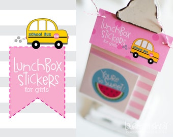 Lunchbox Stickers. Lunchbox Notes Stickers for Girls. Stickers for Kids.