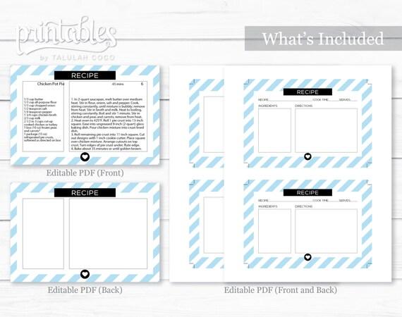 Recipe Card Customizable, Printable Recipe Cards, Editable PDF ...