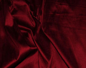 DARK RED SILK fabric, by the yard, dupioni silk, upholstery, fashion, interior, luxury fabric, ruby, lip stick red, rouge, crimson, scarlet