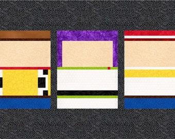 Toy Story - Disney - Quilt Block Pattern - Foundation Paper Piece Patch - PDF Download - Woody, Buzz, Jessie