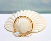 White Opal Helix Earring- Opal Hoop Earring- Tiny Hoop Earring- 16-22 Gauge 6-12mm Inner Diameter- Tiny Cartilage Ring- Small Cartilage Ring