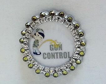 "Gun Pin, ""Piss On Gun Control"" Swarovski Rhinestone Khaki Green Bling Hat Pin or Purse Pin, 2nd Amendment No Gun Control Pin"