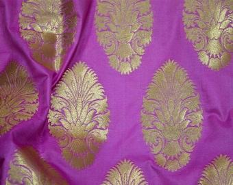Orchid Brocade Fabric, costume fabric, Brocade by the Yard, Indian Brocade Wedding Dress Fabric, Crafting Fabric, Banarasi Dress Material