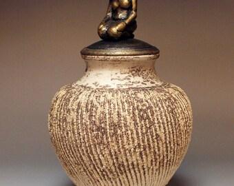 Remembrance - Ceramic Urn with Sculpture - Art Raku Ceramic