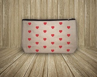 Pouch little hearts cotton 100% hand painted