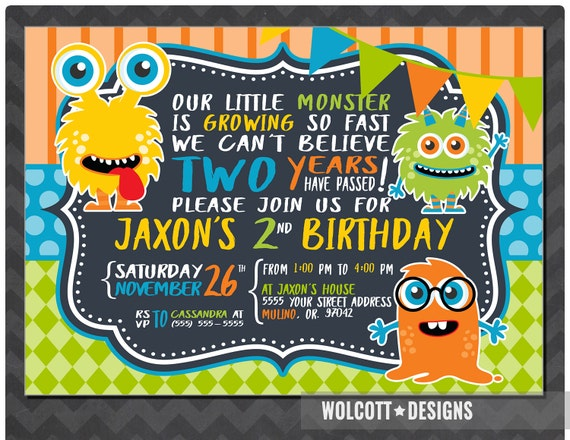 Little Monster Birthday Invitation Boy or Girl Birthday Party – Toddler Girl Birthday Invitations