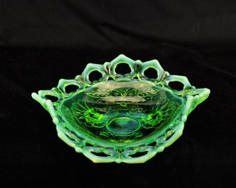 Antique-Jefferson-Reticulated Opalescent Green Glass Bon Bon/Bowl-Wild Rose Pattern-With Reticulated RimCirca-1900-1907