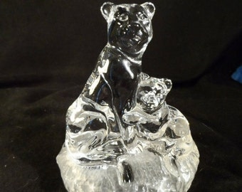On Sale Cougar Figurine-Paperweight : Sitting-Cougar-Mountain Lion & Cub-RCR Royal Crystal Rock-Frosted/Solid Crystal Glass Figurine Ital