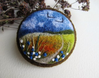 Needle felted brooch Felted landscapes Felted jewelry Needle felt brooch  Embroidery brooches Nature's miniatures