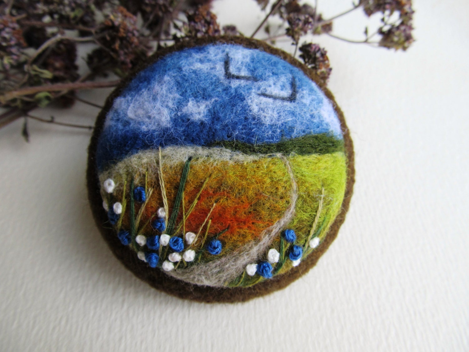 Needle felted brooch Felted landscapes Felted by ...