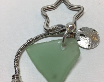 Star Key Ring European Style with Sea Glass and Pewter Sanddollar Charm