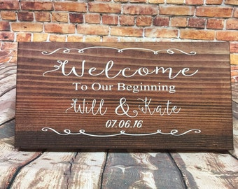 Welcome to our beginning - wedding sign- engagement sign