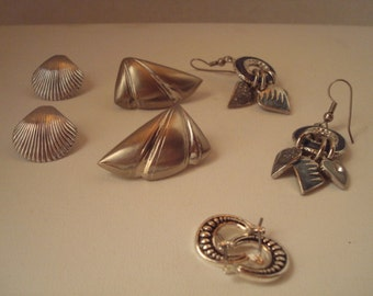 Four pair vintage silver tone pierced earrings