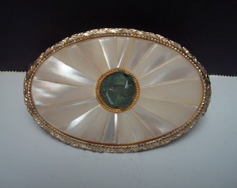 Vintage Art Deco Schildkraut mother of pearl/jadeite lipstick holder with mirror