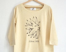 "Sweat-shirt Women cats lion ""Félin ou l'autre"" french expression lion sunflower play on words digital print tencel cotton graphism"