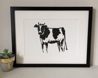 Friesian Cow Art Print