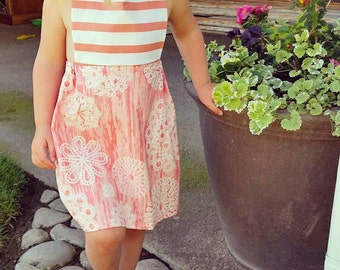 2t-3t elastic halter coral sundress. Simple but so sweet!