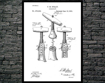 Corkscrew Print, Corkscrew Poster, Corkscrew Patent, Corkscrew Decor, Corkscrew Art, Corkscrew Blueprint, Corkscrew Wall Art, Wine Art p086