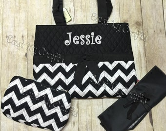 monogrammed diaper bag 3 piece set personalized black chevron