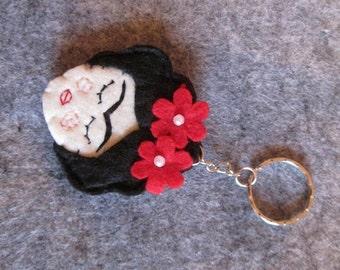Frida Kahlo keychain; Frida keychain; Felt keychain; Stocking stuffers; Christmas gift; Handmade;