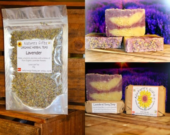 Lavender Pack - Organic Herbal Tea & Lavender Honey Soap