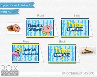 Spongebob Birthday Food Tents, Spongebob Food Labels, Digital – Customized