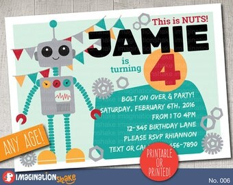 Personalized Robot Birthday Party Invitation PRINTABLE DIY / Robots Birthday / Printable Invite / Boy's Bday / Nuts and Bolts / No. 006