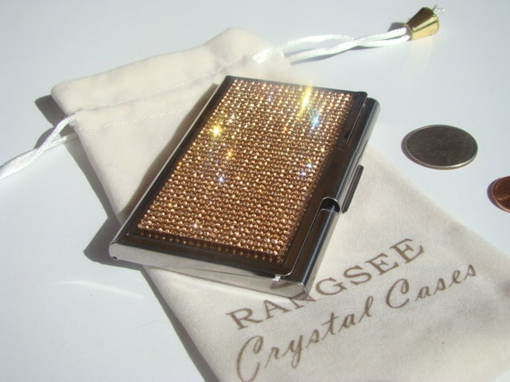 Business Card / Sewing Needle Case Case Rose Gold Rhinestone Crystals, Card Case , Needle Case, Business Card holder.
