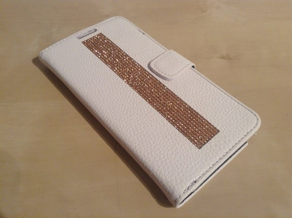 Galaxy Note 4 Rose Gold Rhinestone Crystals on White Wallet Case. Velvet/Silk Pouch bag Included, Genuine Rangsee Crystal Cases.
